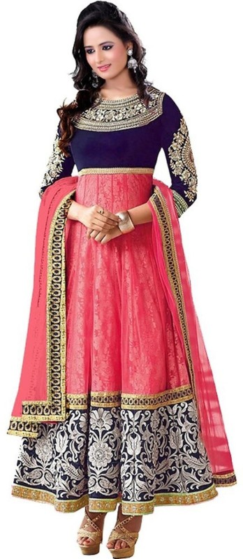 Clickedia Georgette Embroidered, Self Design Semi-stitched Salwar Suit Dupatta Material