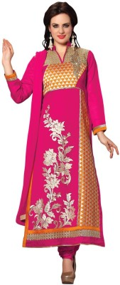 Aasvaa Cotton Embroidered Semi-stitched Salwar Suit Dupatta Material at flipkart