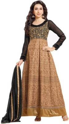 West Turn Georgette Embroidered Semi-stitched Salwar Suit Dupatta Material