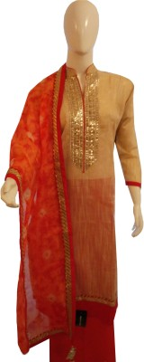 Boenjoy Chanderi, Cotton Solid Semi-stitched Salwar Suit Material