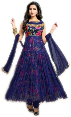 Shree Creation Net Embroidered Semi-stitched Salwar Suit Dupatta Material