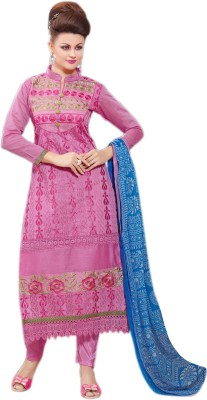 Ladyview Chanderi Embroidered Semi-stitched Salwar Suit Dupatta Material
