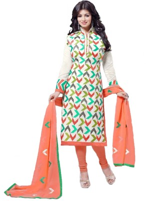 F3 Fashion Brasso Embroidered Semi-stitched Salwar Suit Dupatta Material