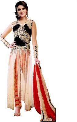 PRN Net Self Design Semi-stitched Salwar Suit Dupatta Material