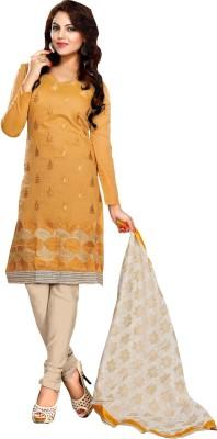 Raagvi Chanderi Embroidered Semi-stitched Salwar Suit Dupatta Material