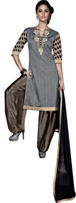 Fladorfabric Jacquard Embroidered Semi-stitched Salwar Suit Dupatta Material