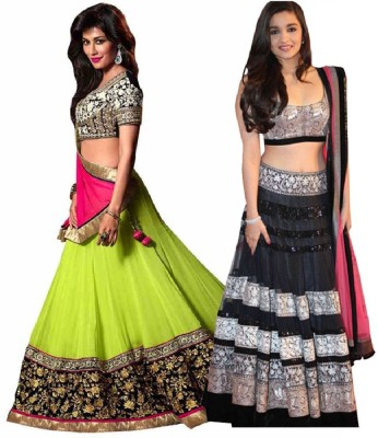 Style Mania Georgette Embroidered Semi-stitched Lehenga Choli Material