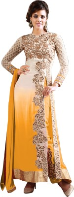 Vibes Georgette Embroidered Semi-stitched Salwar Suit Dupatta Material