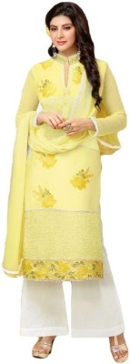 Saanvika,s Princeess Cotton Embroidered Semi-stitched Salwar Suit Dupatta Material