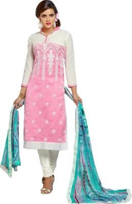 Nandani Fashion Chanderi Embroidered Semi-stitched Salwar Suit Dupatta Material