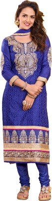 Trendz Apparels Cotton Embroidered Dress/Top Material