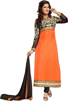 Stay Blessed Chanderi Self Design Semi-stitched Salwar Suit Material