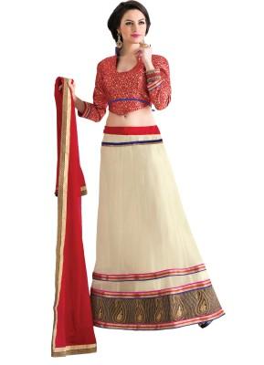 Idha Cotton Linen Blend Embroidered Semi-stitched Lehenga Choli Material