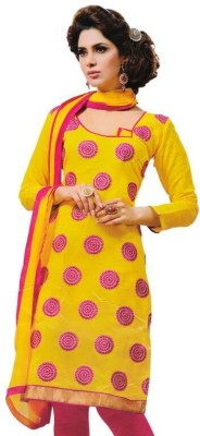 Vibranz Fashion Cotton Silk Blend Self Design Salwar Suit Dupatta Material