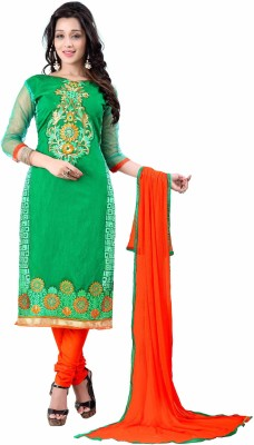 FABCART Chanderi Embroidered Semi-stitched Salwar Suit Dupatta Material