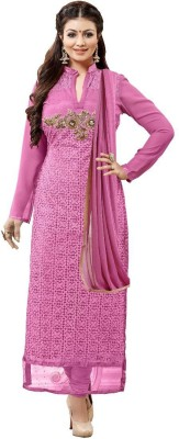 Style Mania Pink Colored Net & Georgette Embroidered Salwar Suit Net Embroidered Salwar Suit Dupatta Material