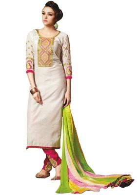 Simaya Chanderi, Chiffon Printed Salwar Suit Dupatta Material