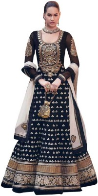 Chatri Fashions Synthetic Georgette Self Design Semi-stitched Gown & Salwar Material
