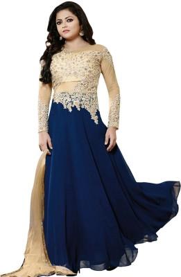 KrushnaCreation Georgette, Net Embroidered Semi-stitched Salwar Suit Dupatta Material