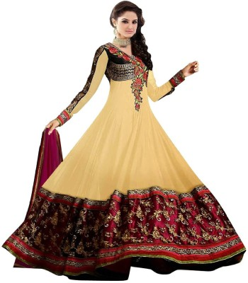 Ganesh Group Georgette Embroidered Semi-stitched Salwar Suit Dupatta Material