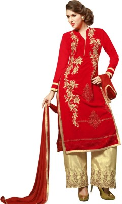 Vastrani Georgette Embroidered Semi-stitched Salwar Suit Dupatta Material