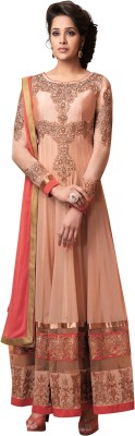 Vastrakosh Georgette Embroidered Semi-stitched Salwar Suit Dupatta Material
