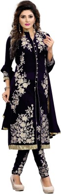 Wildstore Georgette Embroidered Semi-stitched Salwar Suit Dupatta Material