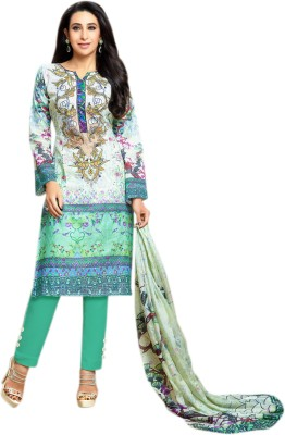 Fabliva Jacquard Embroidered Semi-stitched Salwar Suit Dupatta Material