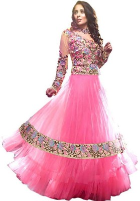 mGm Creation Net Self Design Semi-stitched Gown & Salwar Material