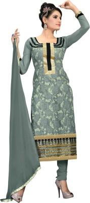 JK apparels Net Embroidered Semi-stitched Salwar Suit Dupatta Material