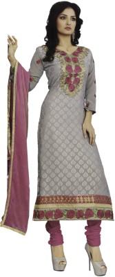 Vamakshi Georgette, Chiffon, Brasso Self Design Semi-stitched Salwar Suit Dupatta Material
