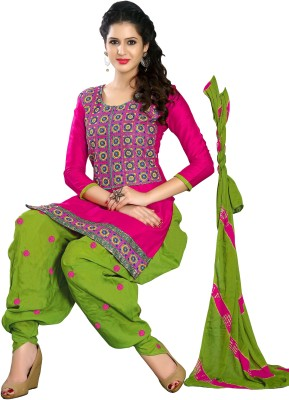 Fashion Spot Cotton Embroidered Semi-stitched Salwar Suit Dupatta Material