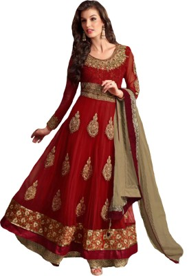 Vbuyz Net Embroidered Semi-stitched Salwar Suit Dupatta Material