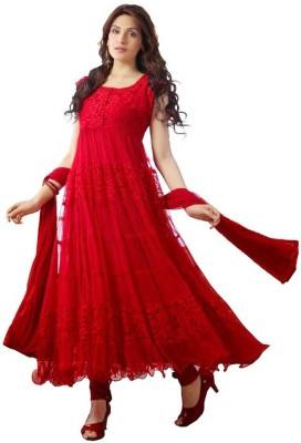 Radha Krishna Fashion Net Floral Print Semi-stitched Salwar Suit Dupatta Material