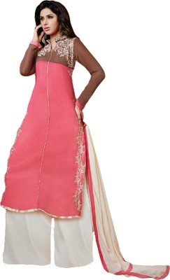 Nilkanth Communication Georgette Embroidered Semi-stitched Salwar Suit Dupatta Material