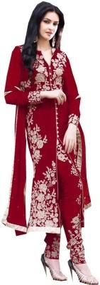 Avsar Prints Georgette Embroidered, Self Design, Solid Salwar Suit Material