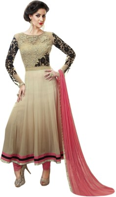 Metroz Georgette, Net Embroidered, Self Design Semi-stitched Salwar Suit Dupatta Material