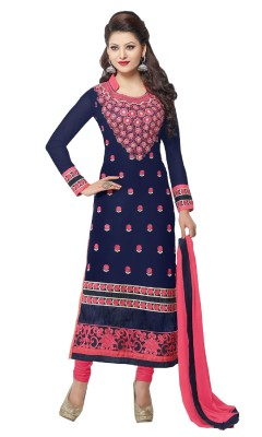 Ethinic Queen Cotton, Chiffon Embroidered Semi-stitched Salwar Suit Dupatta Material
