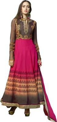Ada Fabrics Georgette Embroidered Semi-stitched Salwar Suit Dupatta Material