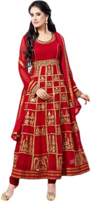 siya designer Georgette Embroidered Semi-stitched Salwar Suit Dupatta Material