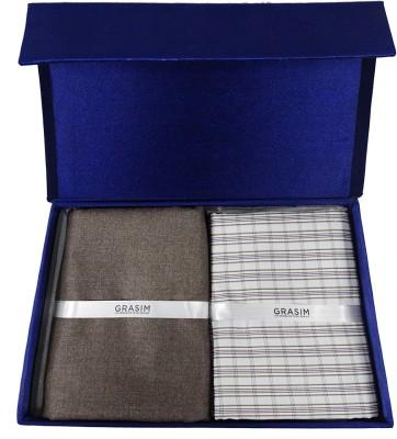 Grasim Cotton Polyester Blend Checkered Shirt & Trouser Fabric