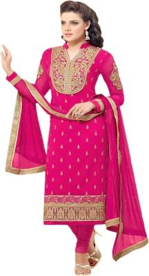 Manjaree Georgette Embroidered, Self Design Semi-stitched Salwar Suit Dupatta Material