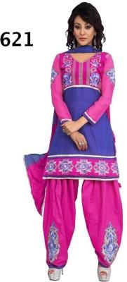 Avani Textiles Cotton Embroidered Semi-stitched Salwar Suit Dupatta Material