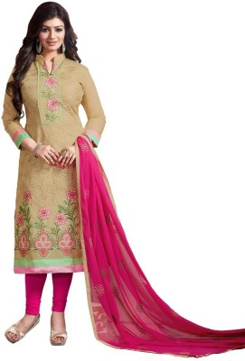 Reveka Fashion Chanderi Embroidered Salwar Suit Dupatta Material