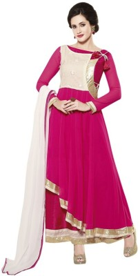 Suitevilla Georgette Self Design Semi-stitched Salwar Suit Dupatta Material