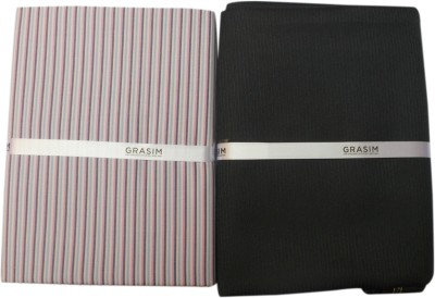 Grasim Suitings Cotton Polyester Blend Striped Shirt & Trouser Fabric