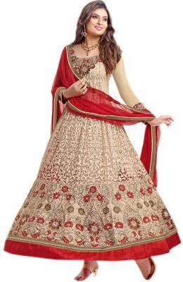 Fabkharidi Net, Brasso Self Design Semi-stitched Salwar Suit Dupatta Material