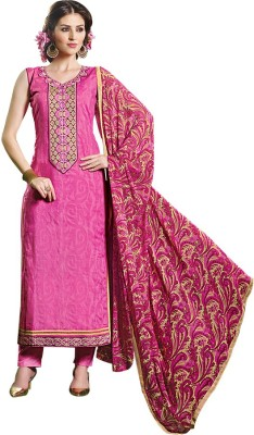 Aahalya Synthetic Georgette Embroidered Semi-stitched Salwar Suit Dupatta Material