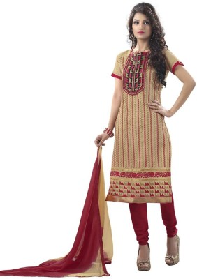 The Fashion World Chanderi Embroidered Salwar Suit Dupatta Material