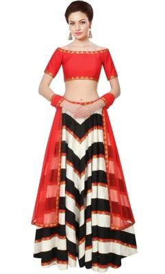 Jassu Fashion Hub Silk Printed Semi-stitched Lehenga Choli Material